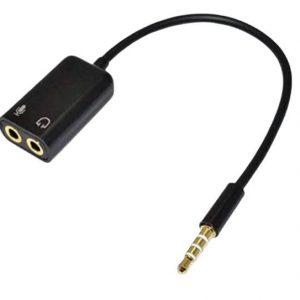 ADAPTADOR 3.5MM ESTEREO AUDIO MACHO DOBLE HEMBRA AURICULAR MICROFONO