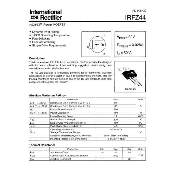 TRANSISTOR MOSFET IRFZ44N 55V 49A NPN
